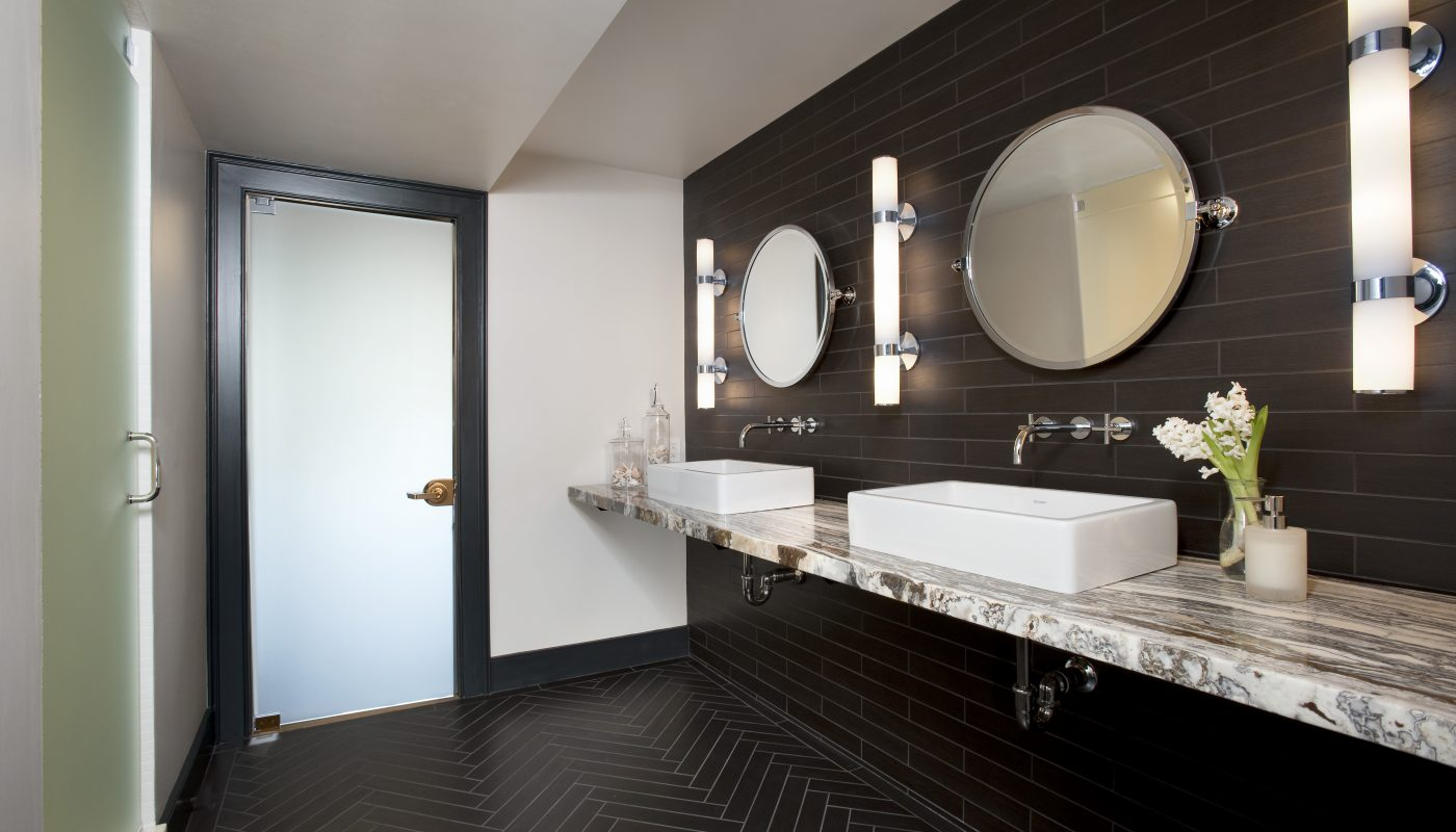 Double Sink Designed Bathroom in Newton, MA