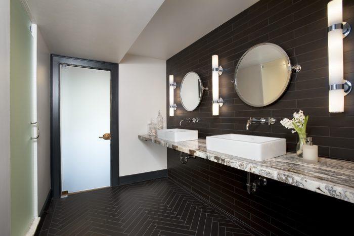 Double Sink Designed Bathroom in Newton, MA