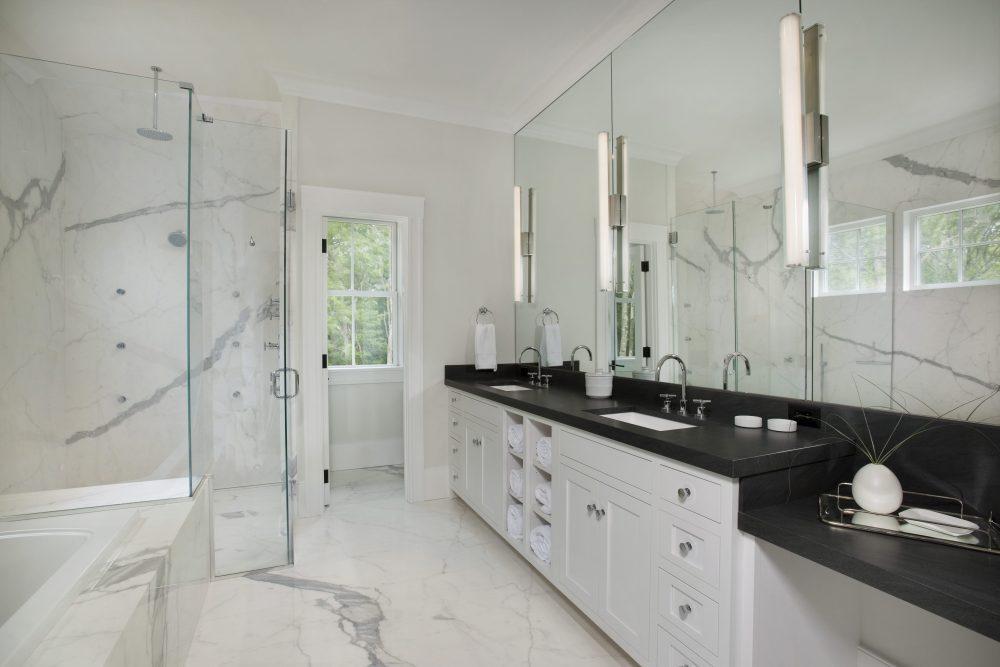 Elegantly Designed Master Bathroom Photo in Weston, MA