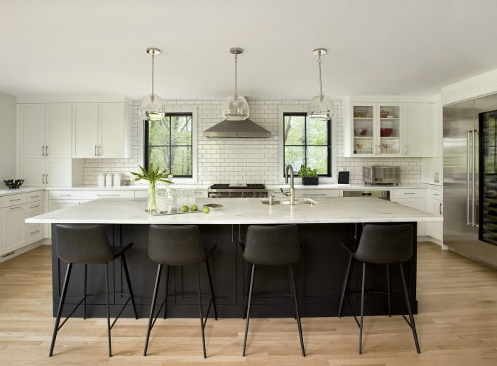 Photo of a kitchen remodel in Newtonville